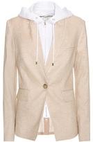 Veronica Beard Upcollar Dickey Jacket Linen-blend Hooded Blazer