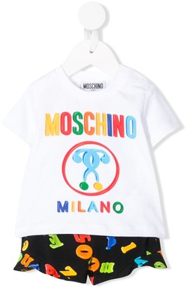 MOSCHINO BAMBINO logo print T-shirt and shorts set
