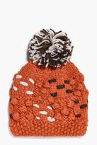 Boohoo Evie Contrast Chunky Knitted Bobble Hat