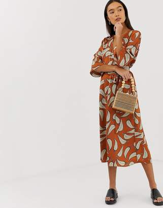 B.young leaf print midi dress-Multi