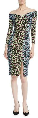 Chiara Boni Irene Leopard-Print Bateau-Neck Cocktail Sheath Dress