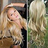"Remeehi Big Wavy Real Human Hair 3/4 Half Wigs Clip in Half Wig Hair Piece for Women (16"" 160g 8/613#)"