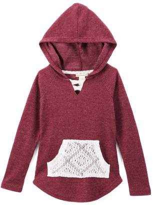 One Step Up Girls' Pullover Sweaters CABERNET - Cabernet Red Lace-Pocket Hoodie - Toddler