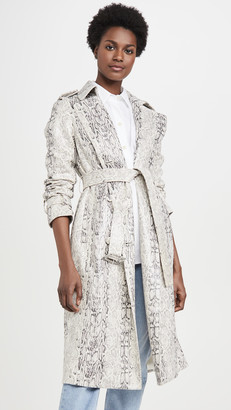 AVEC LES FILLES Double Breasted Snake Print Trench