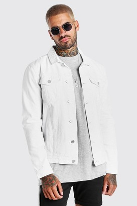 boohoo Mens White Regular Denim Western Jacket, White