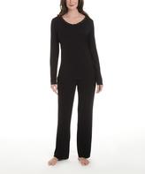 La Leche League International Black Lace-Trim Pajama Set - Plus Too
