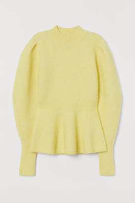 H&M Wool-blend Peplum Sweater - Yellow