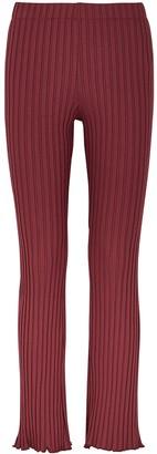 Simon Miller Cyrene Burgundy Ribbed Jersey Trousers
