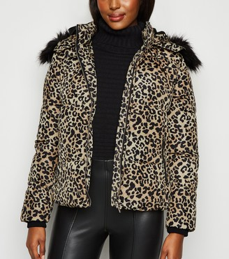 New Look Cameo Rose Leopard Print Puffer Jacket