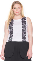 ELOQUII Plus Size Gingham Lace Inset Shell