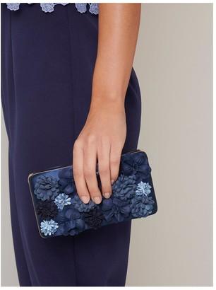 Chi Chi London Jaeda Floral Clutch Bag - Navy