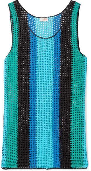 Diane von Furstenberg Striped Crocheted Cotton Mini Dress - Azure