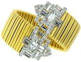 Kenneth Jay Lane Gold Plated & Crystal Deco Cuff Bracelet Bangle