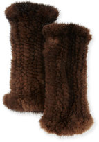 La Fiorentina Fingerless Mink Fur Gloves, Brown