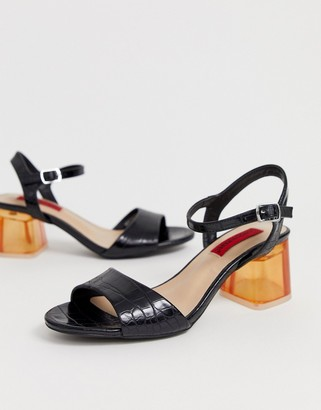 London Rebel transparent heeled sandals-Black