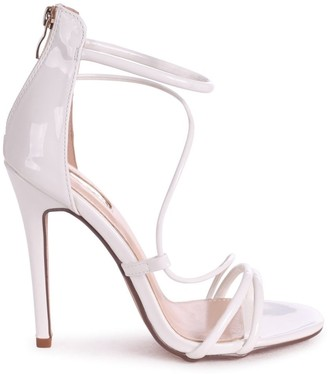 Linzi CORINNA - White Patent Strappy Caged Stiletto Heel With Ankle Strap