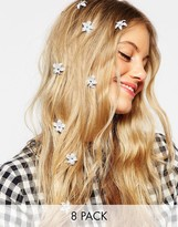 Asos Pack of 8 Mini Sparkle Flower Hair Clips