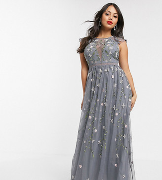 ASOS DESIGN Petite pretty embroidered floral and sequin mesh maxi dress