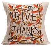 Christmas Pillow Cover, ღ Ninasill ღ Exclusive Happy Fall Thanksgiving Day Soft Linen Pillow Case Cushion Cover Home Decor (C)