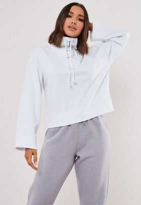 Missguided High Neck Lace Up Sweatshirt
