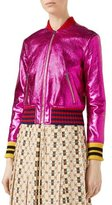 Gucci Metallic Fuchsia Leather Bomber Jacket