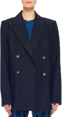 Tibi Tropical Wool Double Breasted Blazer with Cutout