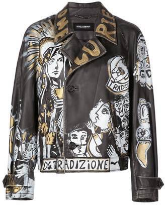 Dolce & Gabbana graffiti leather jacket