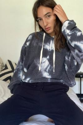 Out From Under Jenny Cosy Cropped Hoodie - Black XS at Urban Outfitters