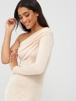 boohoo Texture Slinky Off The Shoulder Midi Dress - Champagne