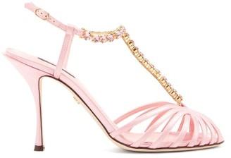 Dolce & Gabbana Crystal-embellished T-bar Caged Satin Sandals - Womens - Pink