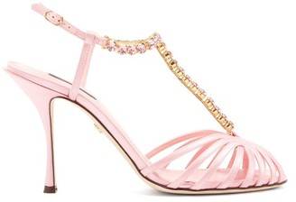 Dolce & Gabbana Crystal-strap Satin Sandals - Womens - Pink
