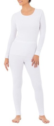 Fruit of the Loom Fit For Me By  Women's and Women's Plus Thermal Waffle Lounge Top and Bottom- 2 Pack Set