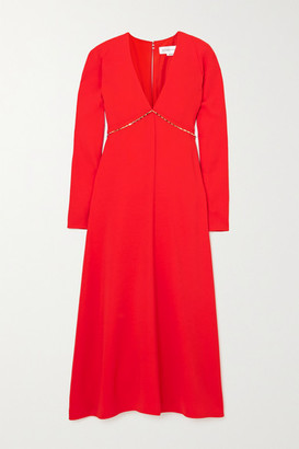 Victoria Beckham Chain-embellished Open-back Crepe Midi Dress - Red