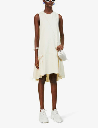 VVB Sleeveless flounce-hem stretch-woven midi dress