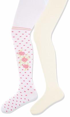 Playshoes Girl's elastisch Rosen und Uni mit Komfortbund Tights