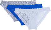 Hanky Panky Signature Set Of Three Stretch-lace Brazilian Briefs - Bright blue