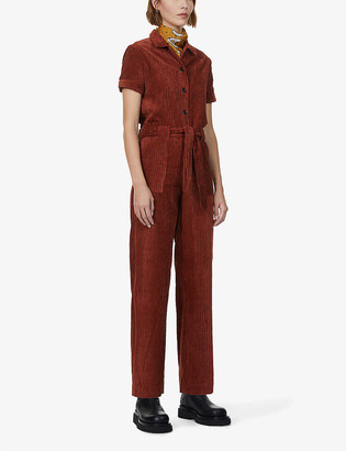Sessun Brooke short-sleeve corduroy jumpsuit