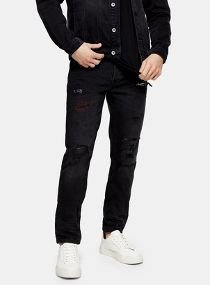 Topman CONSIDERED Black Rip And Repair Skinny Jeans