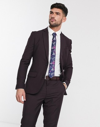 New Look skinny suit jacket in plum