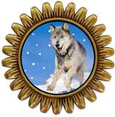 GiftJewelryShop Ancient Style Gold-plated Running Wolf Sunflower Pins Brooch