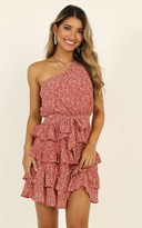 Showpo Kisses One Shoulder Frill Dress in red print - 6 (XS) Going Out