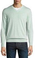 Neiman Marcus Cashmere-Silk V-Neck Sweater, Spearmint
