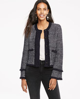 Ann Taylor Textured Fringe Sweater Jacket