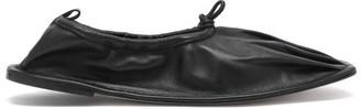 Hereu Puntera Gathered Square-toe Leather Flats - Black