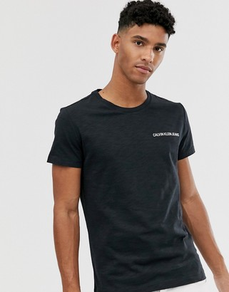 Calvin Klein Jeans slim fit t-shirt in black with small institutional logo