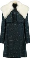 Chloé Shearling-trimmed slub wool-blend coat