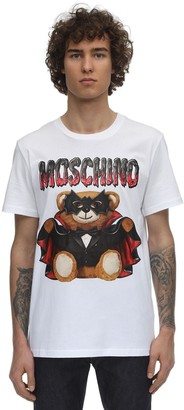Moschino Logo Teddy Bear Print Cotton T-Shirt