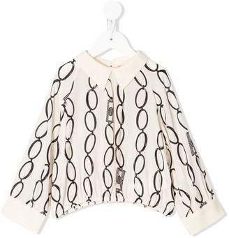 Elisabetta Franchi La Mia Bambina Long Sleeve Chain Print Blouse