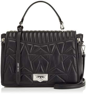 Jimmy Choo HELIA TOPHANDLE Top Handle Bag in Black and Silver Nappa Leather with Star Matelasse