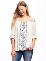 Old Navy Embroidered Off-the-Shoulder Swing Top for Women